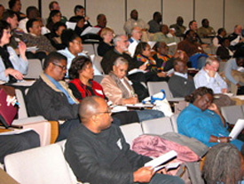 representatives of the AfAm Missions Strategy Seminar listening to the plenary session